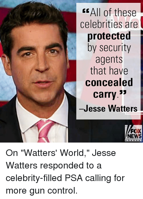 "Memes, News, and Control: < All of these  celebrities are  protected  by security  agents  that have  concealed  carry.3'  -Jesse Watters  FOX  NEWS  chan n e On ""Watters' World,"" Jesse Watters responded to a celebrity-filled PSA calling for more gun control."