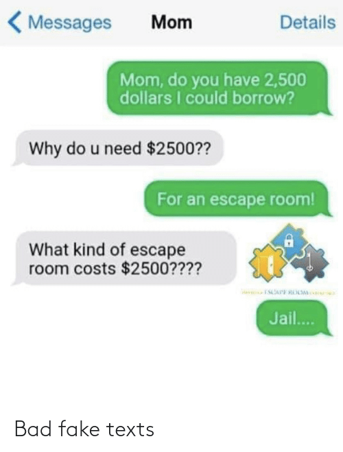 Do You Have: < Messages  Details  Mom  Mom, do you have 2,500  dollars I could borrow?  Why do u need $2500??  For an escape room!  What kind of escape  room costs $2500????  Jail.. Bad fake texts