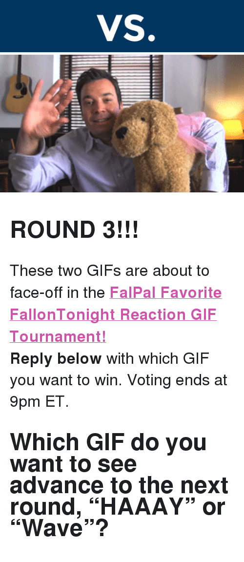 """reaction gifs: <h2><b>ROUND 3!!!</b></h2><p>These two GIFs are about to face-off in the <b><a href=""""http://fallontonight.tumblr.com/post/127481560657/this-week-8-reaction-gifs-are-going-head-to-head"""" target=""""_blank"""">FalPal Favorite FallonTonight Reaction GIF Tournament!</a></b></p><p><b>Reply below</b> with which GIF you want to win. Voting ends at 9pm ET.</p><h2>Which GIF do you want to see advance to the next round, """"HAAAY"""" or """"Wave""""? </h2>"""