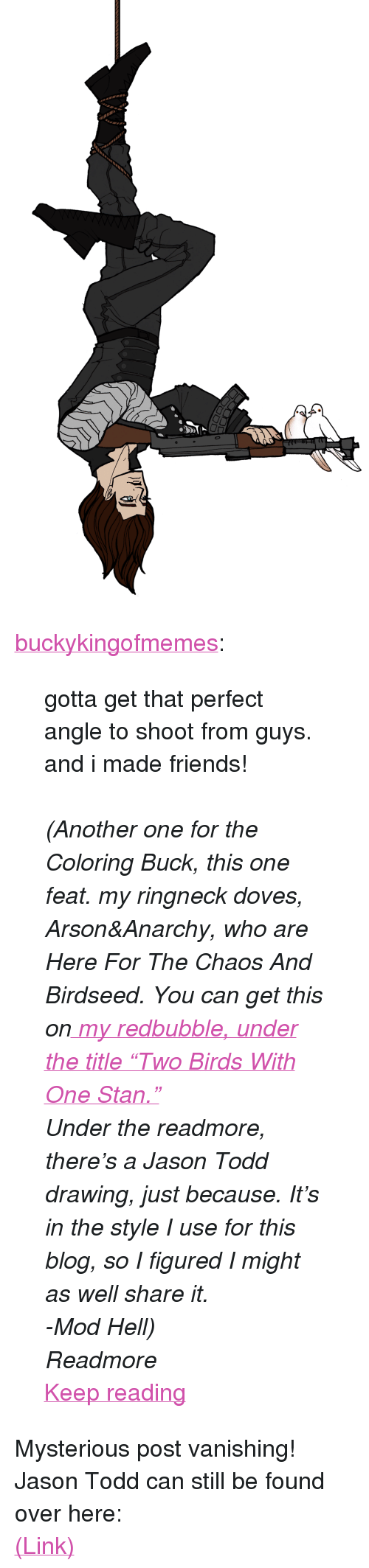 "Another One, Friends, and Stan: <p><a href=""http://buckykingofmemes.tumblr.com/post/164429939636/gotta-get-that-perfect-angle-to-shoot-from-guys"" class=""tumblr_blog"">buckykingofmemes</a>:</p> <blockquote> <p>gotta get that perfect angle to shoot from guys. and i made friends! </p> <p><br/></p> <p><i>(Another one for the Coloring Buck, this one feat. my ringneck doves, Arson&amp;Anarchy, who are Here For The Chaos And Birdseed. You can get this on<a href=""https://www.redbubble.com/people/buckykingofmeme?asc=u""> my redbubble, under the title ""Two Birds With One Stan.""</a></i></p> <p><i>Under the readmore, there's a Jason Todd drawing, just because. It's in the style I use for this blog, so I figured I might as well share it.</i></p> <p><i>-Mod Hell)</i></p> <p><i>Readmore</i></p> <p><a href=""http://buckykingofmemes.tumblr.com/post/164429939636/gotta-get-that-perfect-angle-to-shoot-from-guys"" class=""tmblr-truncated-link read_more"">Keep reading</a></p> </blockquote> <p>Mysterious post vanishing! Jason Todd can still be found over here: </p><p><a href=""http://hellenhighwater.tumblr.com/post/164429454415/jason-todd-i-recently-ish-followed"">(Link)</a></p>"
