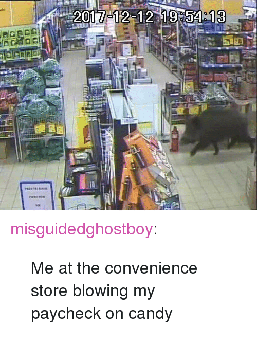 """Candy, Tumblr, and Blog: <p><a href=""""http://misguidedghostboy.tumblr.com/post/174287087364/me-at-the-convenience-store-blowing-my-paycheck-on"""" class=""""tumblr_blog"""">misguidedghostboy</a>:</p><blockquote><p>Me at the convenience store blowing my paycheck on candy</p></blockquote>"""