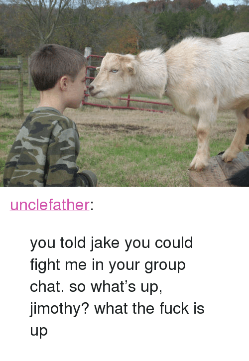 "Group Chat, Tumblr, and Blog: <p><a href=""http://sierraseybold.com/post/167036832791/you-told-jake-you-could-fight-me-in-your-group"" class=""tumblr_blog"">unclefather</a>:</p> <blockquote><p>you told jake you could fight me in your group chat. so what's up, jimothy? what the fuck is up</p></blockquote>"