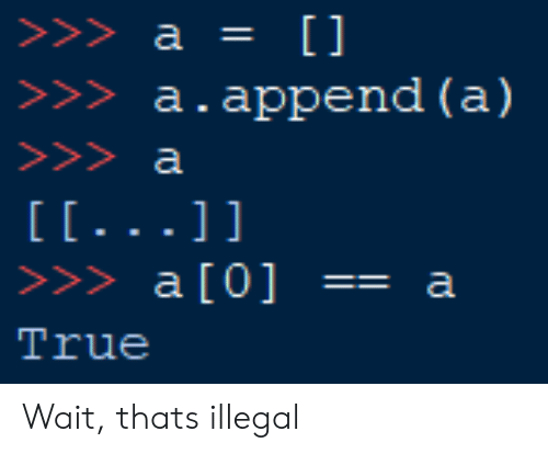 True, Wait, and Illegal: >>>a.append (a)  >>> a [0]  True  a Wait, thats illegal