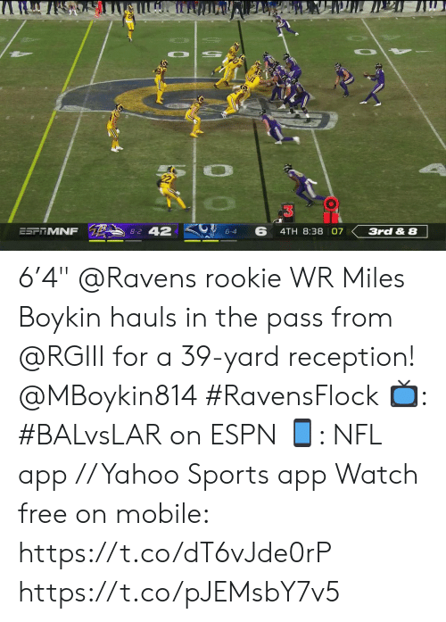 "Espn, Memes, and Nfl: Ли  8-2 42  6  ESFITMNF  4TH 8:38 07  3rd & 8  6-4 6'4"" @Ravens rookie WR Miles Boykin hauls in the pass from @RGIII for a 39-yard reception! @MBoykin814 #RavensFlock  📺: #BALvsLAR on ESPN 📱: NFL app // Yahoo Sports app Watch free on mobile: https://t.co/dT6vJde0rP https://t.co/pJEMsbY7v5"