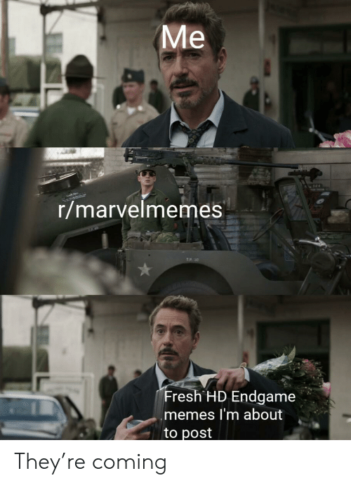 endgame: Ме  r/marvelmemes  TP 30  Fresh HD Endgame  memes I'm about  to post They're coming