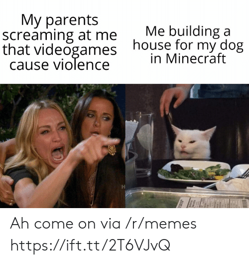 Memes, Minecraft, and Parents: Мy parents  screaming at me  that videogames  cause violence  Me building a  house for my dog  in Minecraft Ah come on via /r/memes https://ift.tt/2T6VJvQ