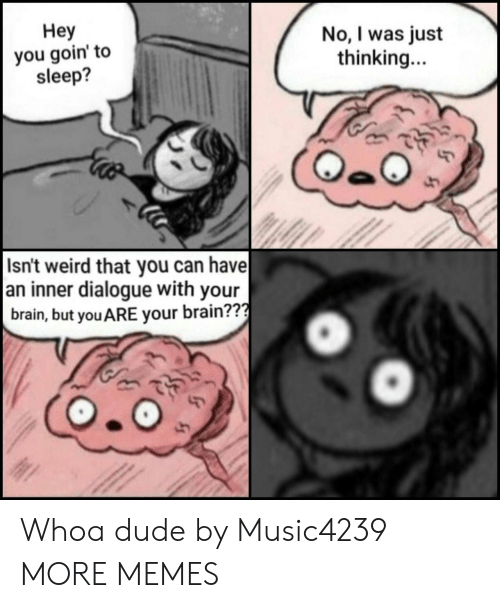 Dank, Dude, and Memes: Неу  you goin' to  sleep?  No, I was just  thinking...  Isn't weird that you can have  an inner dialogue with your  brain, but you ARE your brain??? Whoa dude by Music4239 MORE MEMES