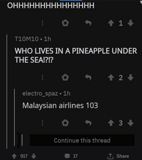 Pineapple, Who, and Airlines: ОННННННННННННННН  1  T10M10 1h  WHO LIVES IN A PINEAPPLE UNDER  THE SEA!?!?  2  electro_spaz 1h  Malaysian airlines 103  t3  Continue this thread  917  17  Share