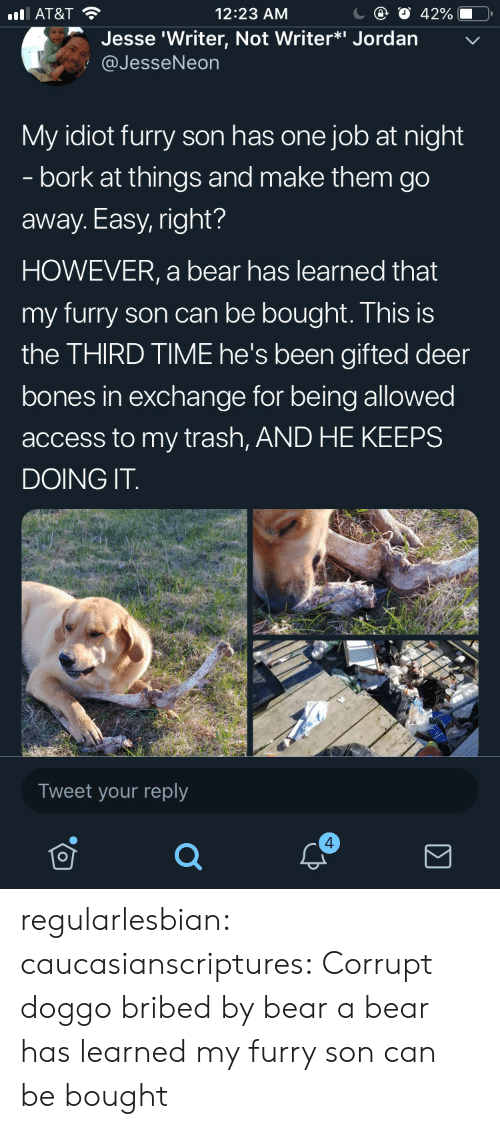 Bones, Deer, and Target: С @ О 42%-O,  12:23 AM  l AT&T  Jesse 'Writer, Not Writer*i Jordan  @JesseNeon  My idiot furry son has one job at night  - bork at things and make them go  away. Easy, right?  HOWEVER, a bear has learned that  my furry son can be bought. This is  the THIRD TIME he's been gifted deer  bones in exchange for being allowed  access to my trash, AND HE KEEPS  DOING IT  Tweet your reply  4 regularlesbian: caucasianscriptures: Corrupt doggo bribed by bear a bear has learned my furry son can be bought
