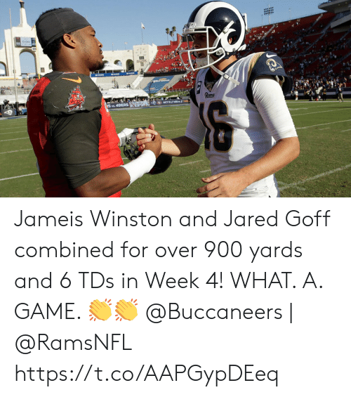 Jared: का Jameis Winston and Jared Goff combined for over 900 yards and 6 TDs in Week 4!   WHAT. A. GAME. ??  @Buccaneers | @RamsNFL https://t.co/AAPGypDEeq