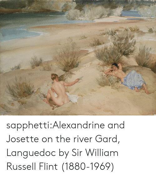 William: ১৯ sapphetti:Alexandrine and Josette on the river Gard, Languedoc by Sir William Russell Flint (1880-1969)