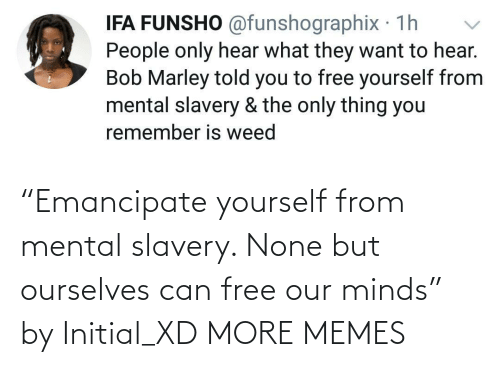 """Minds: """"Emancipate yourself from mental slavery. None but ourselves can free our minds"""" by Initial_XD MORE MEMES"""