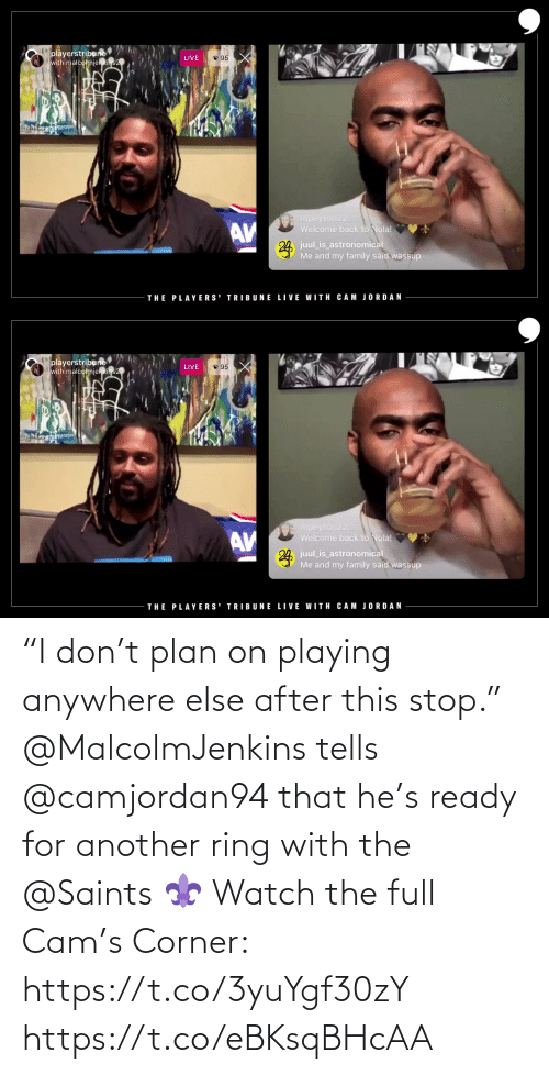 """Corner: """"I don't plan on playing anywhere else after this stop.""""  @MalcolmJenkins tells @camjordan94 that he's ready for another ring with the @Saints ⚜️   Watch the full Cam's Corner: https://t.co/3yuYgf30zY https://t.co/eBKsqBHcAA"""