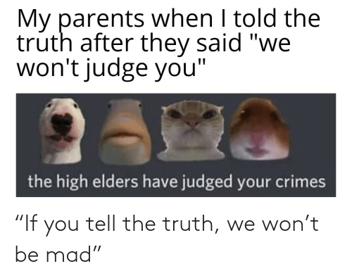 "Truth: ""If you tell the truth, we won't be mad"""