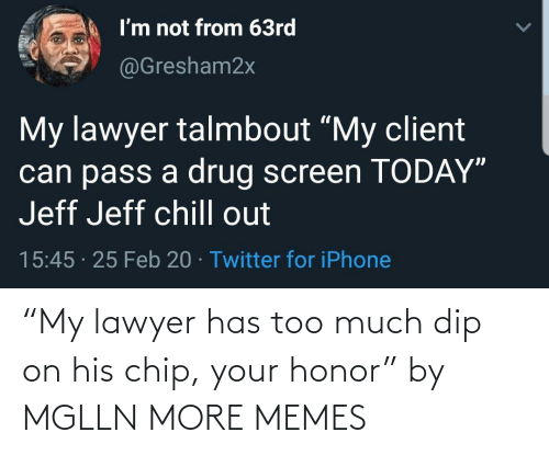 "dip: ""My lawyer has too much dip on his chip, your honor"" by MGLLN MORE MEMES"