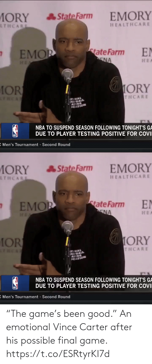 """After: """"The game's been good.""""   An emotional Vince Carter after his possible final game. https://t.co/ESRtyrKI7d"""