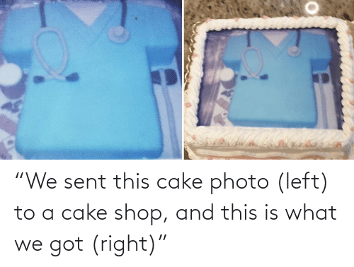 "shop: ""We sent this cake photo (left) to a cake shop, and this is what we got (right)"""
