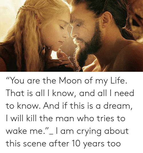 """A Dream, Crying, and Life: """"You are the Moon of my Life. That is all I know, and all I need to know. And if this is a dream, I will kill the man who tries to wake me.""""_ I am crying about this scene after 10 years too"""