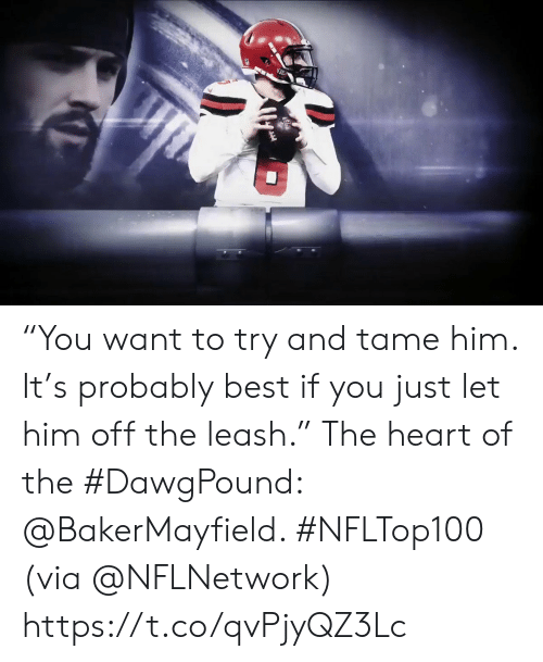 "Memes, Best, and Heart: ""You want to try and tame him.   It's probably best if you just let him off the leash.""  The heart of the #DawgPound: @BakerMayfield. #NFLTop100  (via @NFLNetwork) https://t.co/qvPjyQZ3Lc"