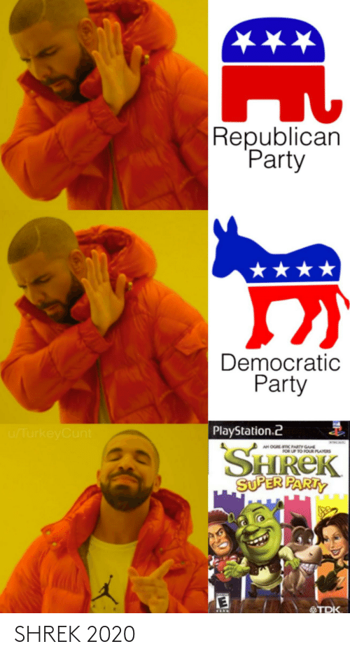 Republican Party: ★★★  Republican  Party  ★★★  Democratic  Party  PlayStation.2  u/TurkeyCunt  SHREK  SUPER PARTY  AN OGREC PARTY GANE  FOR UP TO FOUR PLAYERS  MNIN  TDK SHREK 2020