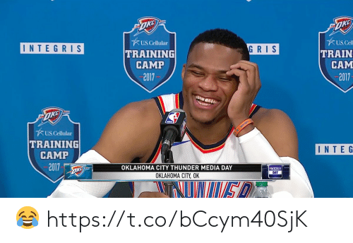 Oklahoma: ★ uscellular  TRAINING  CAMP  2017  usCell  GRISTRAIN  CAM  2017  INTEGRIS  US Cellular  TRAINING  CAMP  2017  INTE G  OKLAHOMA CITY THUNDER MEDIA DAY  OKLAHOMA CITY, OK  MEDIA  DAY 😂 https://t.co/bCcym40SjK
