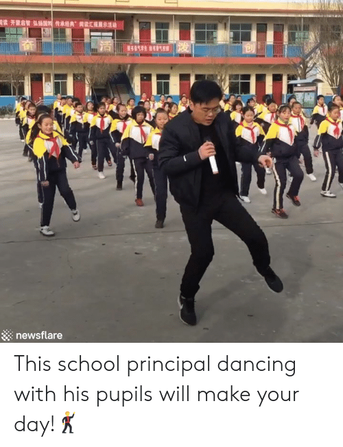 "Dancing, School, and Principal: 國读开蒙启智弘插国传承经典""读汇理  13  展示活动  414生气 发  newsflare This school principal dancing with his pupils will make your day!🕺"