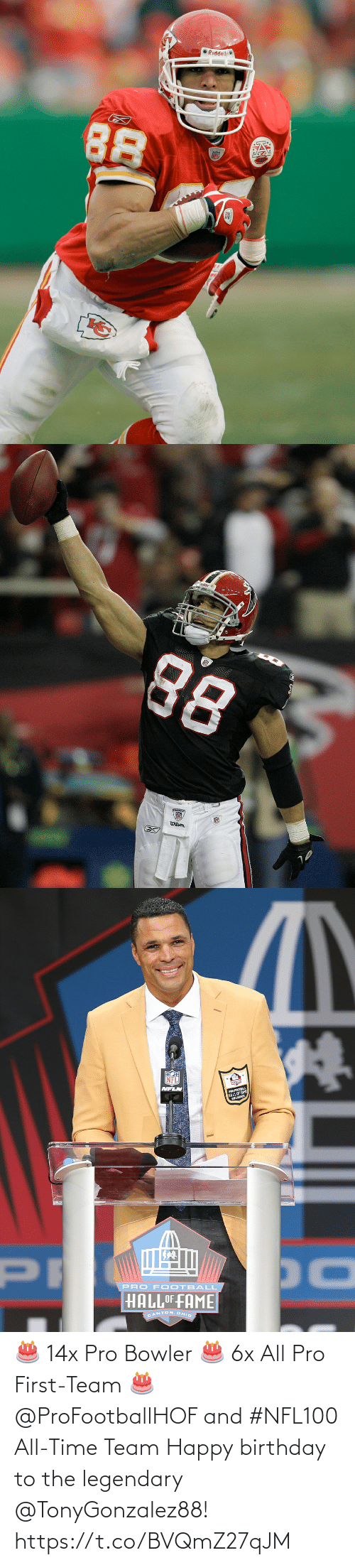 Happy Birthday: 🎂 14x Pro Bowler 🎂 6x All Pro First-Team 🎂 @ProFootballHOF and #NFL100 All-Time Team  Happy birthday to the legendary @TonyGonzalez88! https://t.co/BVQmZ27qJM