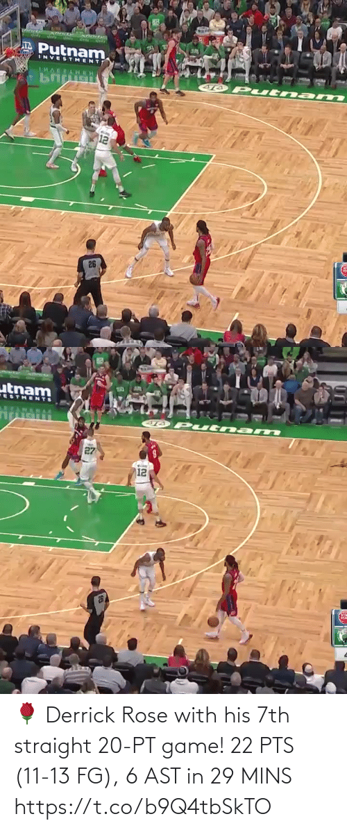 Game: 🌹 Derrick Rose with his 7th straight 20-PT game!   22 PTS (11-13 FG), 6 AST in 29 MINS  https://t.co/b9Q4tbSkTO