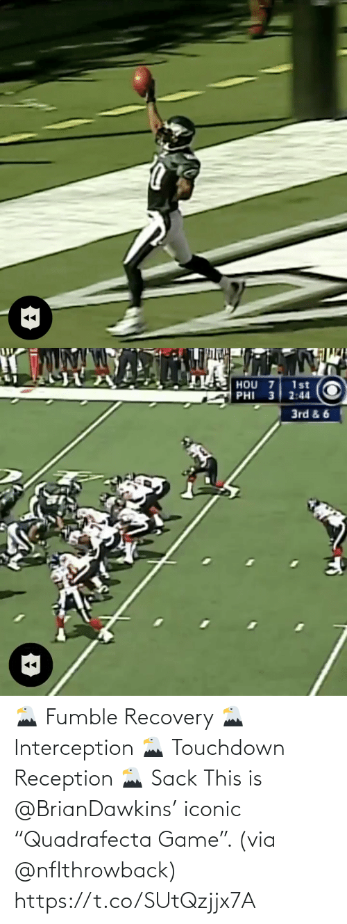 "recovery: 🦅 Fumble Recovery 🦅 Interception 🦅 Touchdown Reception 🦅 Sack  This is @BrianDawkins' iconic ""Quadrafecta Game"". (via @nflthrowback) https://t.co/SUtQzjjx7A"