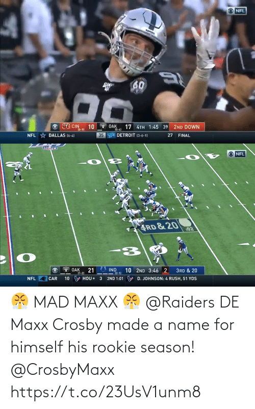 name: 😤 MAD MAXX 😤  @Raiders DE Maxx Crosby made a name for himself his rookie season! @CrosbyMaxx https://t.co/23UsV1unm8