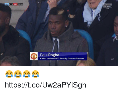 Soccer, Main Event, and Paul: 0-0 MU 01:46  main event  Paul Pogba  Called useless 6000 times by Graeme Souness 😂😂😂😂 https://t.co/Uw2aPYiSgh
