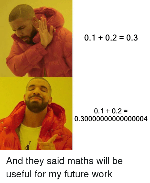 Future, Work, and Will: 0.1 0.2 -0.3  0.1 0.2-  0.30000000000000004 And they said maths will be useful for my future work