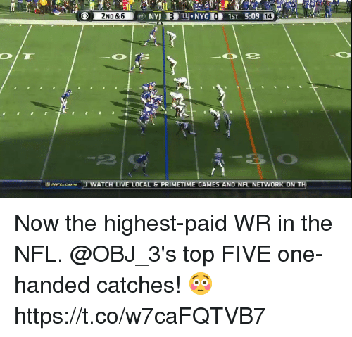 Nfl Network: 0  14  2  .vFL.caxw 'J WATCH LIVE LOCAL G PRIMETIME GAMES AND NFL NETWORK ON Now the highest-paid WR in the NFL.  @OBJ_3's top FIVE one-handed catches! 😳 https://t.co/w7caFQTVB7