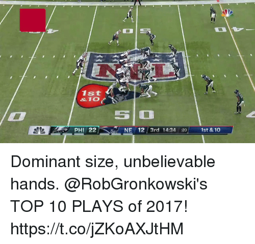 Memes, 🤖, and Top: 0.3  1st  & 10  PHI 22 NE 12 3rd 14:34 :20 1st & 10 Dominant size, unbelievable hands.  @RobGronkowski's TOP 10 PLAYS of 2017! https://t.co/jZKoAXJtHM