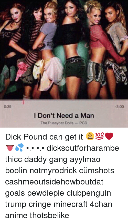 4chan, Anime, and Goals: 0:39  I Don't Need a Man  The Pussycat Dolls  -3:00 Dick Pound can get it 😩💯❤️👅💦 •.• •.• dicksoutforharambe thicc daddy gang ayylmao boolin notmyrodrick cümshots cashmeoutsidehowboutdat goals pewdiepie clubpenguin trump cringe minecraft 4chan anime thotsbelike