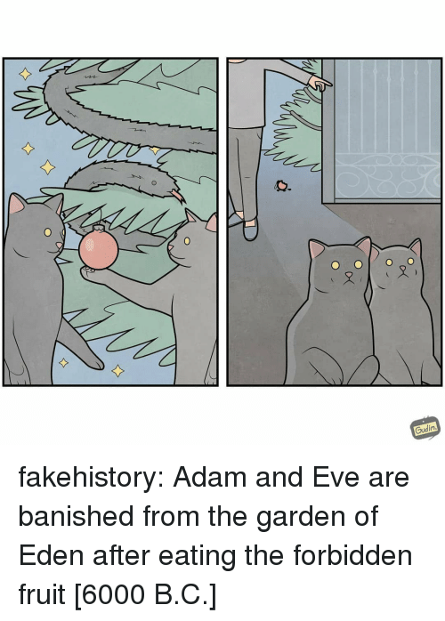 Adam and Eve, Tumblr, and Blog: 0  Gudin fakehistory: Adam and Eve are banished from the garden of Eden after eating the forbidden fruit [6000 B.C.]