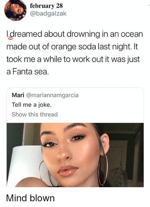 Fanta, Memes, and Soda: 02% february 28  @badgalzak  greamed about drowning in an ocean  made out of orange soda last night. It  took me a while to work out it was just  a Fanta sea.  Mari @mariannamgarcia  Tell me a joke.  Show this thread Mind blown