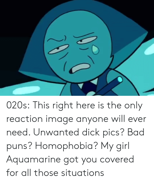 dick pics: 020s:  This right here is the only reaction image anyone will ever need. Unwanted dick pics? Bad puns? Homophobia? My girl Aquamarine got you covered for all those situations
