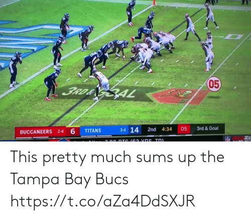 bay: 05  3RD& GAL  3rd &Goal  3-4 14  05  2nd  4:34  TITANS  BUCCANEERS 2-4 6  NFL  7 00 DTS (62 vns Tn This pretty much sums up the Tampa Bay Bucs https://t.co/aZa4DdSXJR