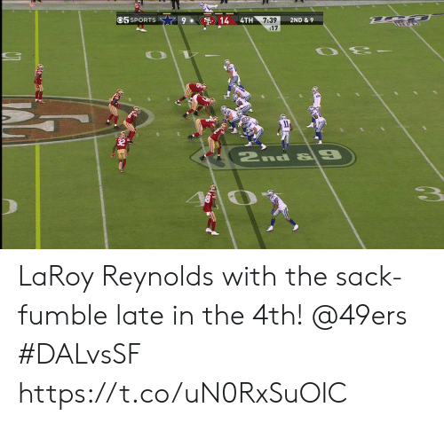 San Francisco 49ers, 9/11, and Memes: 05 SPORTS  14  4TH  7:39  :17  2ND & 9  11  2nd & 9 LaRoy Reynolds with the sack-fumble late in the 4th!  @49ers  #DALvsSF https://t.co/uN0RxSuOIC