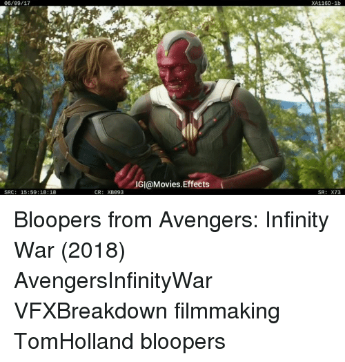 Bloopers: 06/09/17  XA116D-1b  IGI@Movies.Effects  SRC: 15:59:18:18  CR: XB093  SR: X73 Bloopers from Avengers: Infinity War (2018)⠀ AvengersInfinityWar VFXBreakdown filmmaking TomHolland bloopers