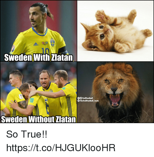 Adidas, Memes, and True: 07  adidas  Sweden With Zlatan  OO TrollFootball  TheTrollFootballInsta  -  Sweden Without Zlatan So True!! https://t.co/HJGUKlooHR