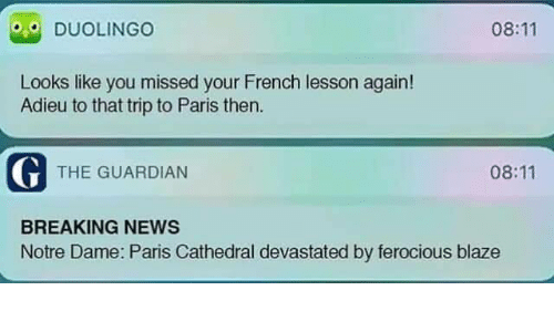 Dank, News, and Blaze: 08:11  DUOLINGO  Looks like you missed your French lesson again!  Adieu to that trip to Paris then  G THE GUARDIAN  08:11  BREAKING NEWS  Notre Dame: Paris Cathedral devastated by ferocious blaze