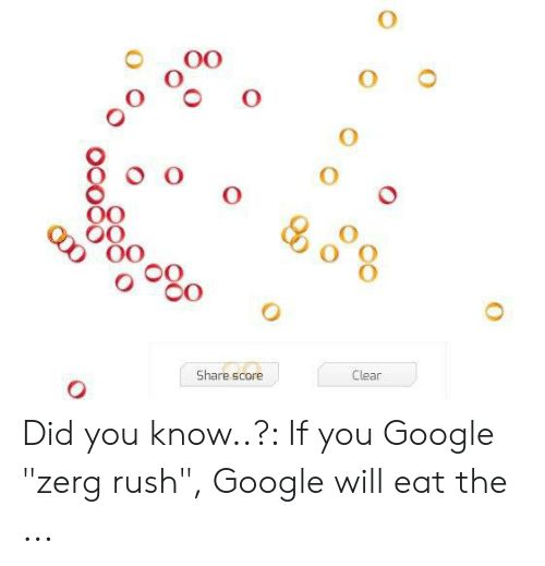 """Google Zerg: 0O  OO  OO  Share score  Clear Did you know..?: If you Google """"zerg rush"""", Google will eat the ..."""