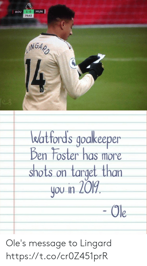 1 0: 1-0  MUN  BOU  79:43  AINGARD  14  es   watfords goakeeper  Ben Foster has more  shots on target than  you in 2019  - Ole Ole's message to Lingard https://t.co/cr0Z451prR