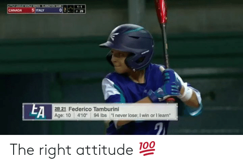 "MLB: 1-1  5 ITALY  CANADA  29  EA  2B 21 Federico Tamburini  Age: 10 41094 lbs ""I never lose; I win or I learn The right attitude 💯"