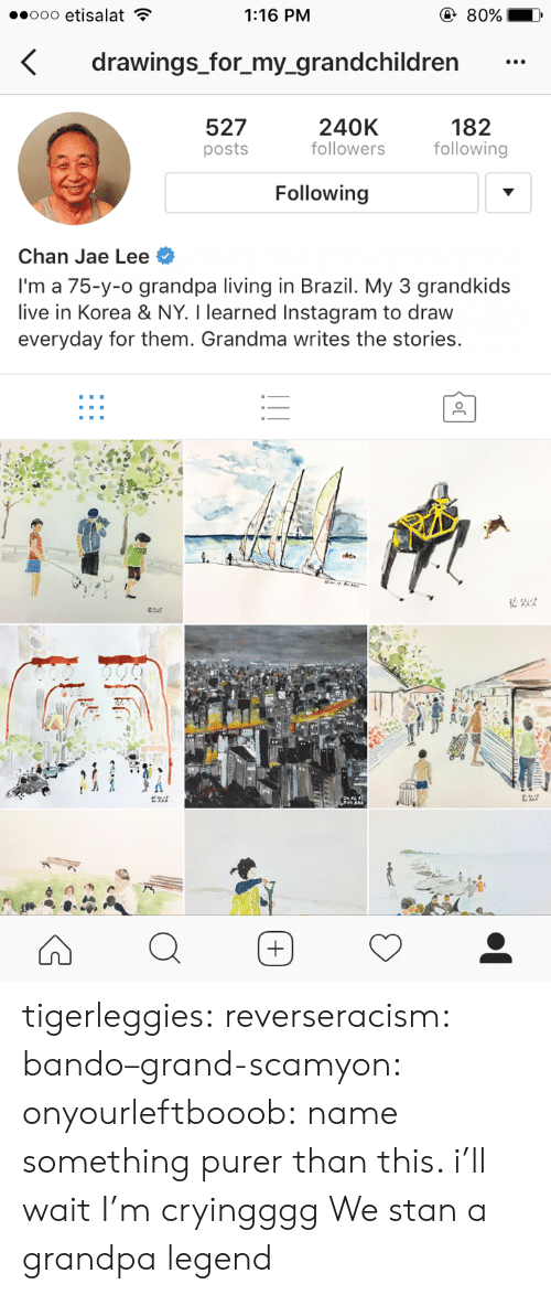 Followers: 1:16 PM  drawings_for_my_grandchildren  527  posts  240K  followers  182  following  Following  Chan Jae Lee  I'm a 75-y-o grandpa living in Brazil. My 3 grandkids  live in Korea & NY. I learned Instagram to draw  everyday for them. Grandma writes the stories. tigerleggies:  reverseracism:   bando–grand-scamyon:  onyourleftbooob: name something purer than this. i'll wait I'm cryingggg     We stan a grandpa legend