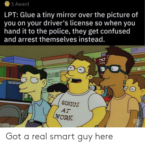 Confused, Lpt, and Police: 1 Award  LPT: Glue a tiny mirror over the picture of  you on your driver's license so when you  hand it to the police, they get confused  and arrest themselves instead.  BANES  BACK  GENIUS  AT  WORK  FX  RE Got a real smart guy here