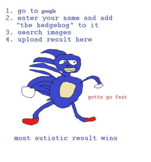 Dank, Google, and Hedgehog: 1. go to google  2 enter your name and add  the hedgehog  to it  3. search images  4 upload result here  gotta go fast  mast autistic result wins