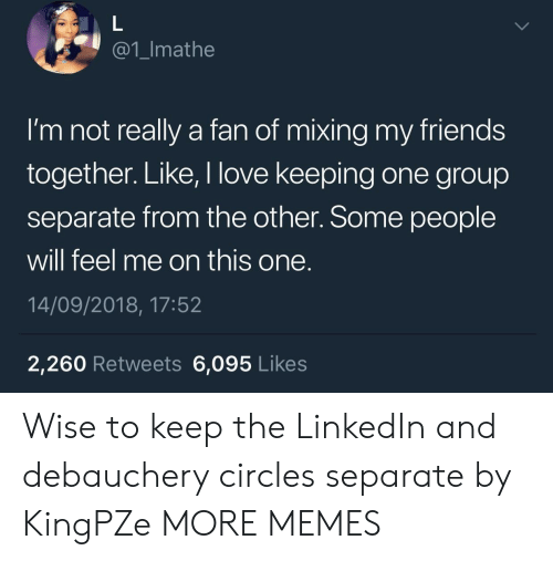Dank, Friends, and LinkedIn: @1_Imathe  I'm not really a fan of mixing my friends  together. Like, I love keeping one group  separate from the other. Some people  will feel me on this one.  14/09/2018, 17:52  2,260 Retweets 6,095 Likes Wise to keep the LinkedIn and debauchery circles separate by KingPZe MORE MEMES